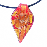 1 Red 55x30mm Murano Lampwork Glass Leaf Pendant